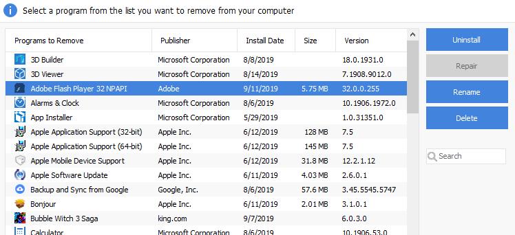 cách gỡ bỏ phần mềm không có trong control panel2