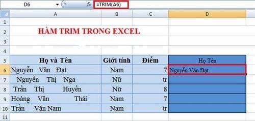 Hàm xóa khoảng trắng dư thừa bỏ khoảng trắng trong Excel, hàm cơ bản trong excel