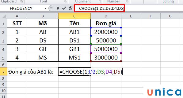 Cách sử dụng cơ bản hàm choose trong Excel