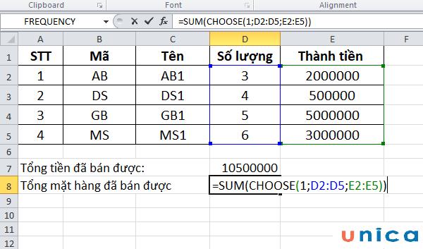 Sử dụng hàm choose kết hợp hàm sum(2)