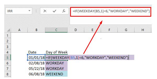 Cách sử dụng hàm Weekday