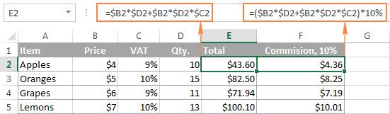 Ví dụ về công thức tính tổng trong Excel