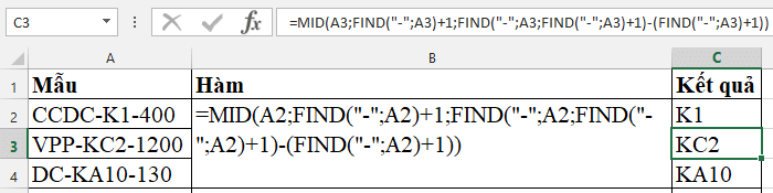 Sử dụng hàm FIND và hàm MID để tách chuỗi ký tự ở giữa theo số ký tự cố định