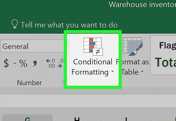 Nhấp nút Conditional Formatting