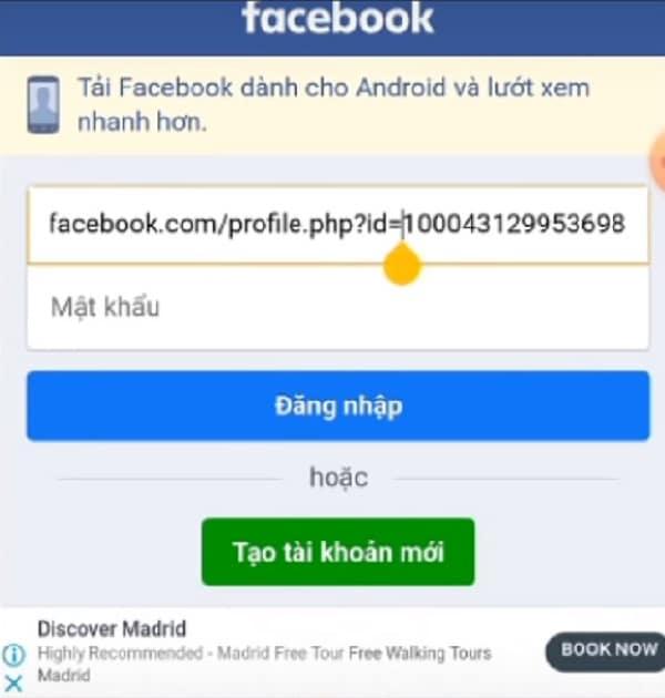 Truy cập vào giao diện đăng nhập facebook