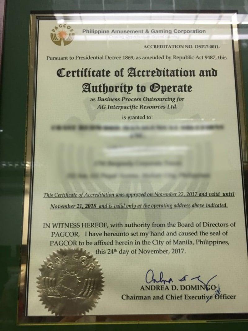 giấy chứng nhận hợp pháp của nhà cái