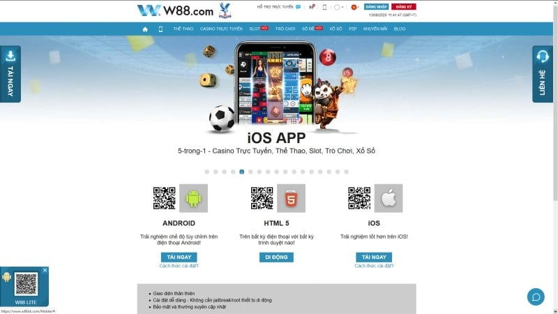 ứng dụng nhà cái w88