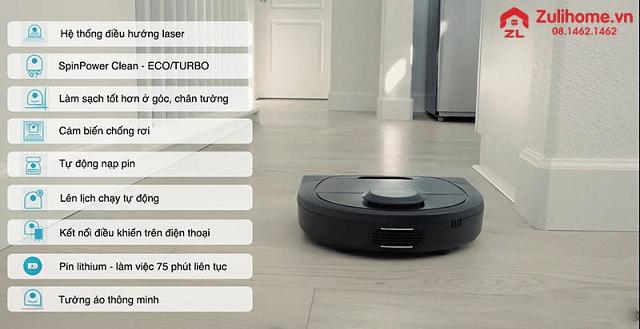 Robot lau nhà hút bụi Zulihome Neato Connected D4 được áp dụng công nghệ điều hướng Laser