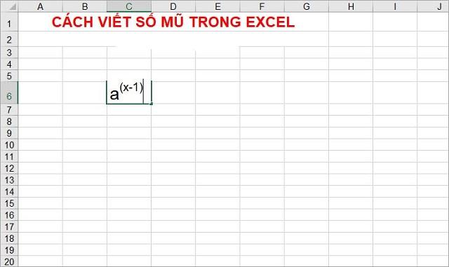 cách viết số mũ trong excel 3