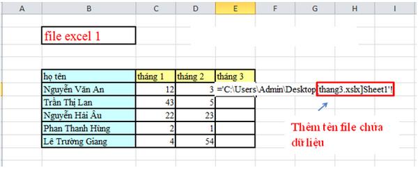 Cách chuyển dữ liệu từ file Excel này sang file Excel khác