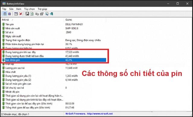 Phần mềm kiểm tra pin laptop BatteryInfoView