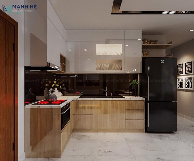 Mẫu tủ bếp đụng trần chất liệu gỗ MDF phủ acrylic bóng gương tạo hiệu ứng ánh sáng tuyệt đẹp