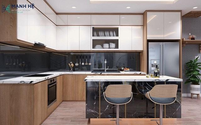 Hệ tủ bếp chữ L kết hợp bàn đảo bếp cho chung cư, nhà phố có diện tích rộng
