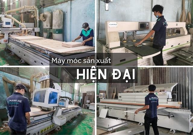 Xưởng sản xuất nội thất Mạnh Hệ với trang thiết bị máy móc hiện đại